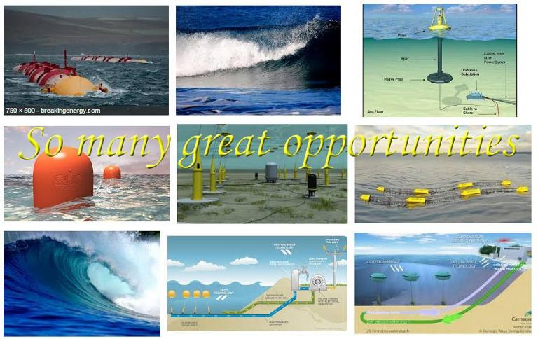 A zoo of wave energy solutions