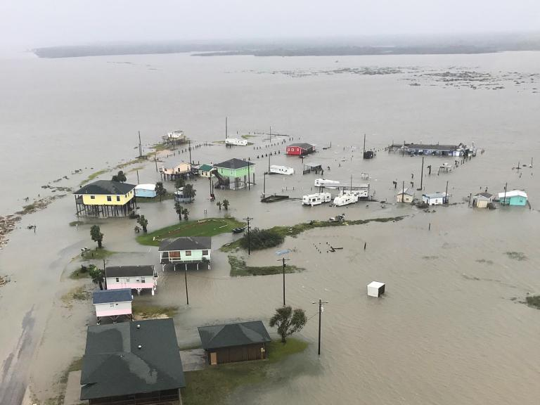 An aerial view shows severe flooding caused by Hurricane Harvey near Rockport, Holiday Beach and Port Aransas, Texas, Aug. 27, 2017. Army National Guard photo