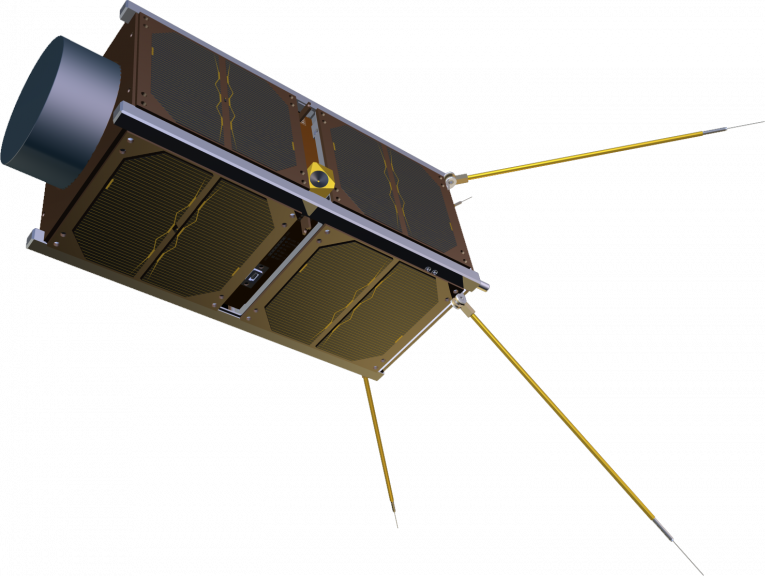 CubeSat with Langmuir probes. (Illustration: QB50 project)
